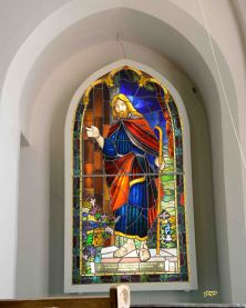 """Christ at the Door"" - Batty Memorial - Sanctuary. Westmacott Art and Glass Studio, 1968"
